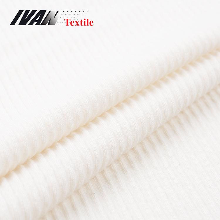 Fashion garment elastane rib knitted polyester viscose spandex fabric