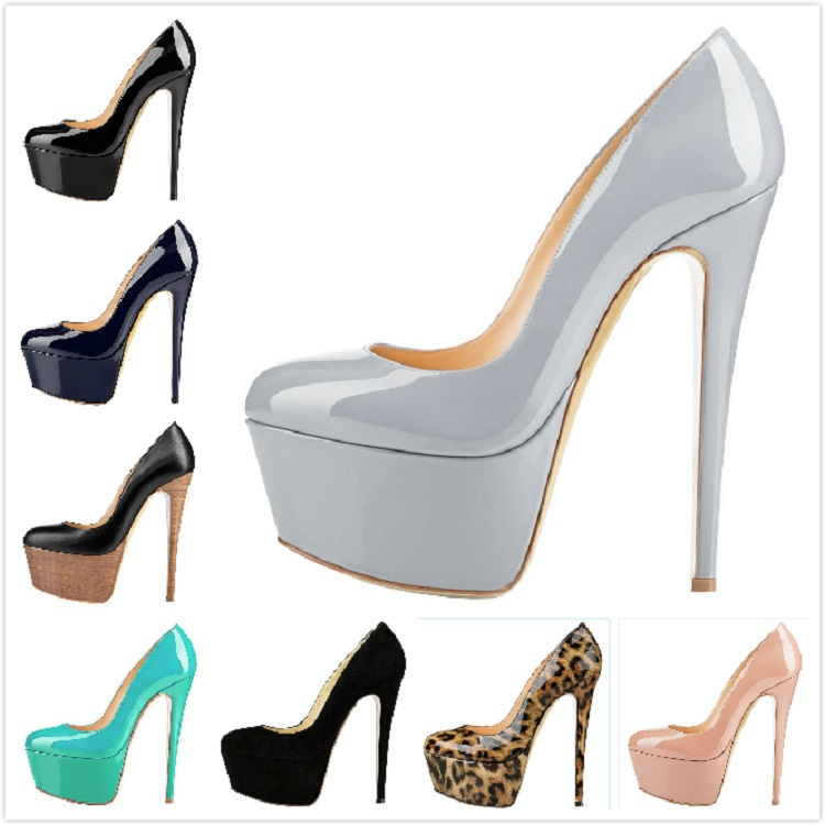 2019 Wholesale custom Grey women's shoes high heel platform pumps