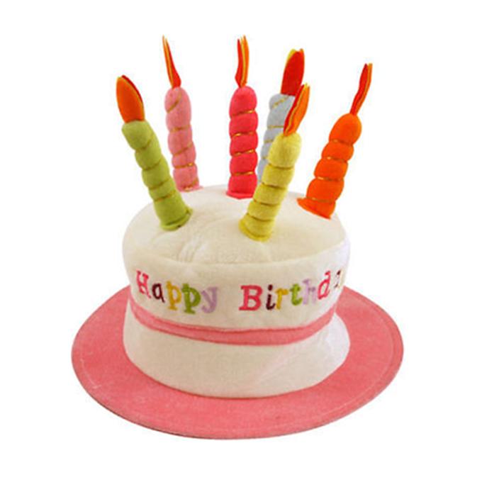 Brilliant Happy Birthday 3D Cake Hat Candles Plush Novelty Mens Womens Party Funny Birthday Cards Online Inifodamsfinfo