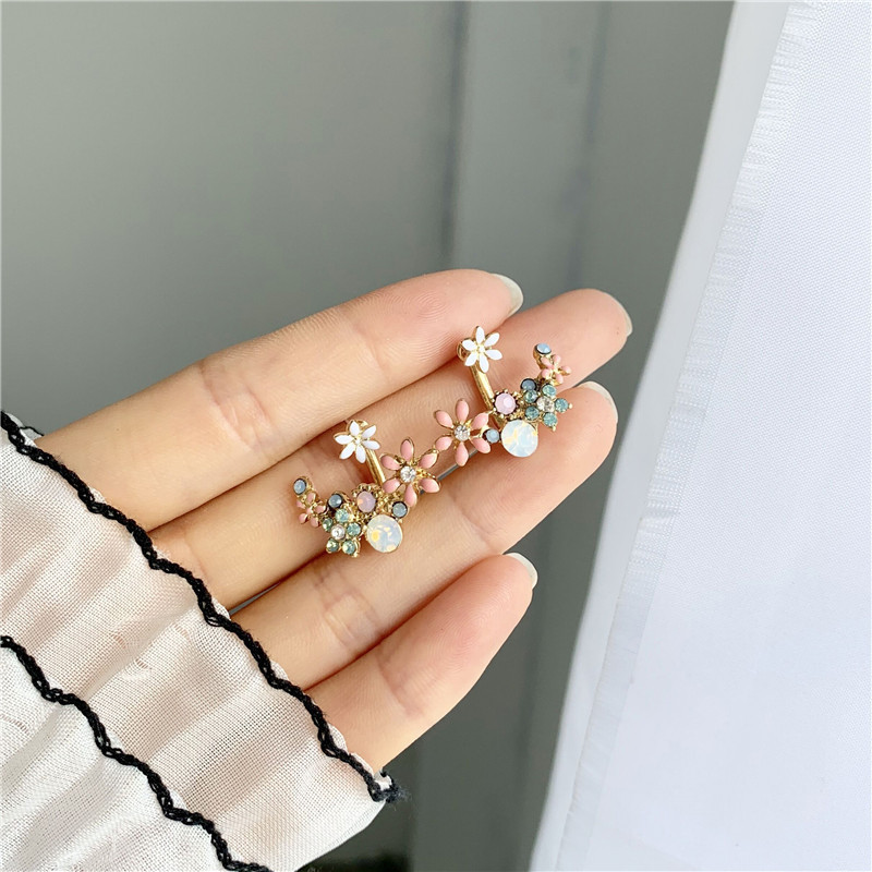 Korean Hot Fashion Small Cute Hook Drop Oil Flower Stud Earrings Crystal Micro-drop Color Earring Jewelry For Women