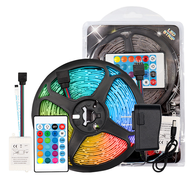 YJN5613 Smart 12v 2835 IR Waterproof 5M RGB decorative background LED Strip Light