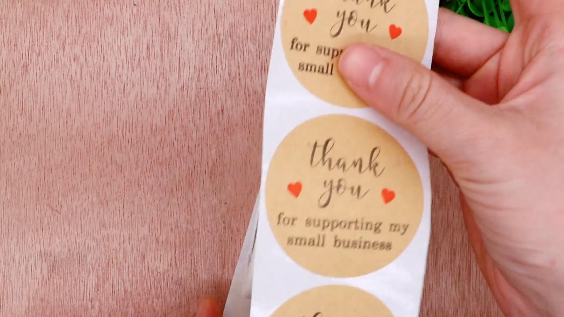 """Hybsk 2 """"de papel de Kraft marrón diseño lindo Gracias por apoyar a mi pequeño negocio pegatinas 300 etiquetas por rollo"""