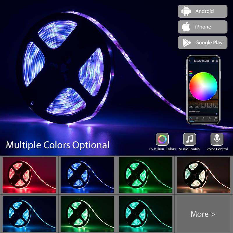 Smart Voice Control Flexible 5050 RGB Waterproof fita tiras cinta luces LED alexa Strip Lights 5m 12v bande With Remote Control