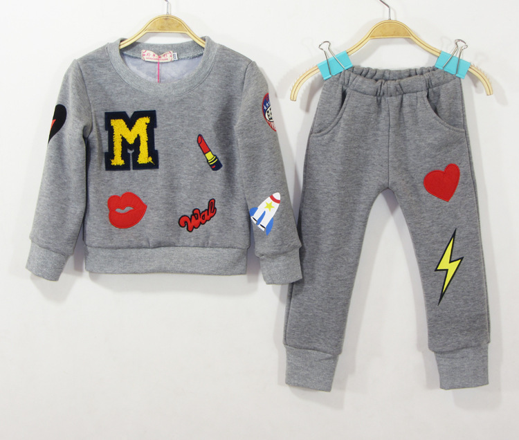 2020 New Kids Girl Printed Letter Home Outfit Winter Clothing Set For Girls Children