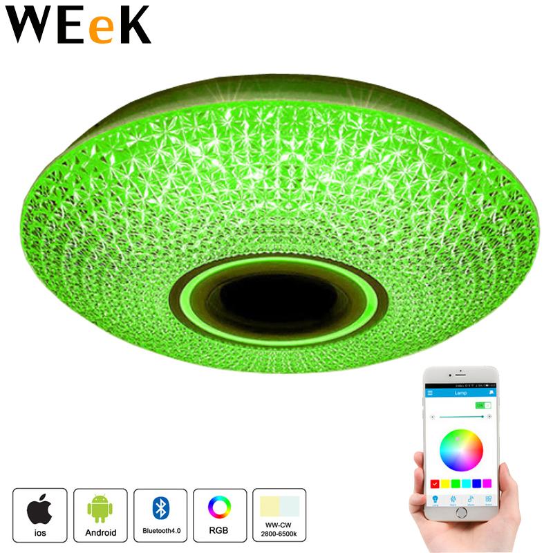 30W Bluetooth LED Ceiling Light Crystal Flush Mount Light RGB Dimmable Chandelier Lighting for Living Room Bed Room 40*40*10cm