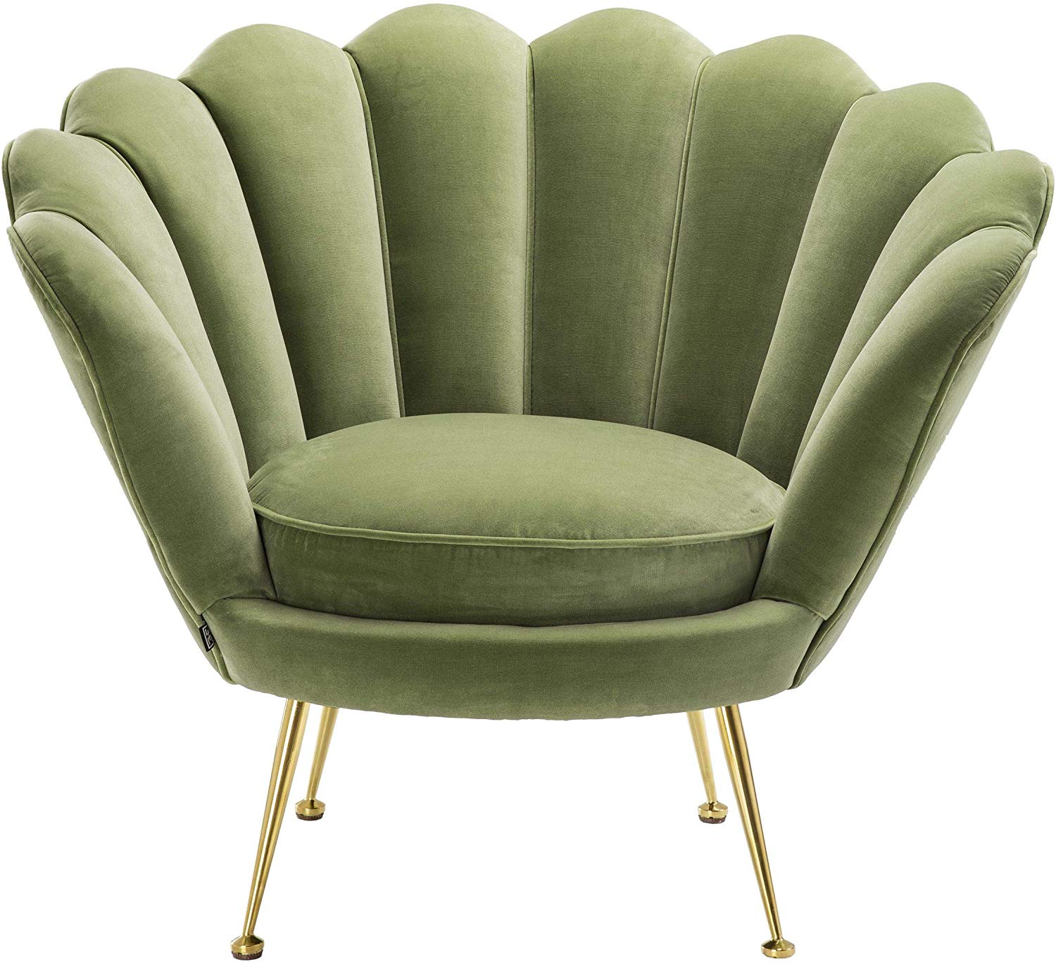 Gold Brass Metal Upholstery Velvet Fabric Turquoise 2 Seater Luxury Flower Shell Shaped Eichholtz Trapezium Sofa Chair