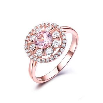 Fashion luxury high quality nano pink gemstone rings 925 sterling silver rose gold plated ring cubic zirconia rings