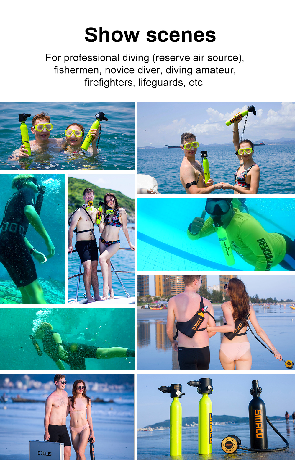 Free breath under water within 10M for 5-10 minutes cylinder equipment diving tank Mini scuba