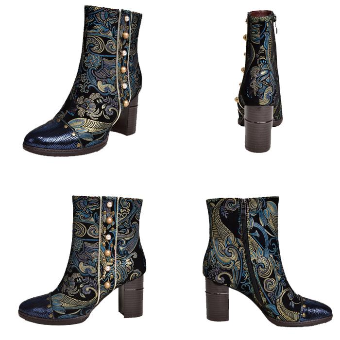 牛革ハンドメイド高ブロックハイヒールアンクルブーツの女性マーティンブーツブーツ