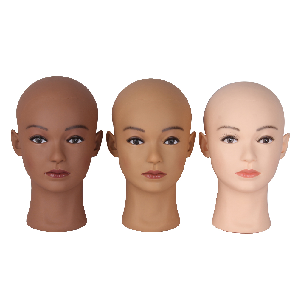 Afro Bald Mannequin Head Black Female Manikin Mode Professional Cosmetology For Wig Making Dummy Head 54cm Wig Making Heads