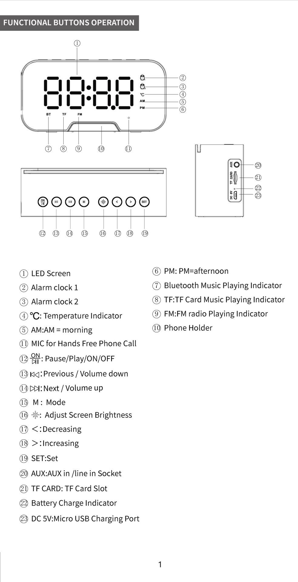 Mirror desk clock with BT speaker digital LED light desk & table FM radio alarm clock electronic calendars 2020 Amazon