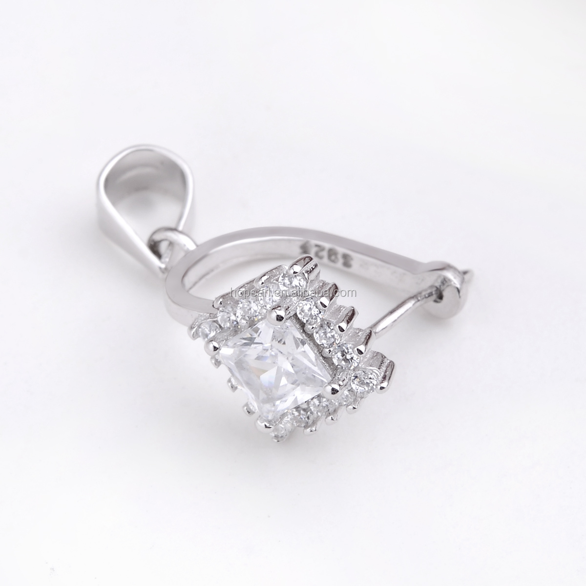SSP235 Square Zircons 925 Silver Pendants Clasps Clips Bails Connectors Charm Bail Beads Jewelry Findings