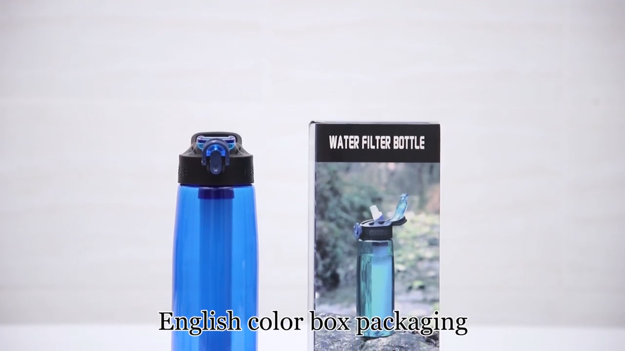 Alkaline Cycling Sports Portable Carbon Shaker Filter Water Bottle