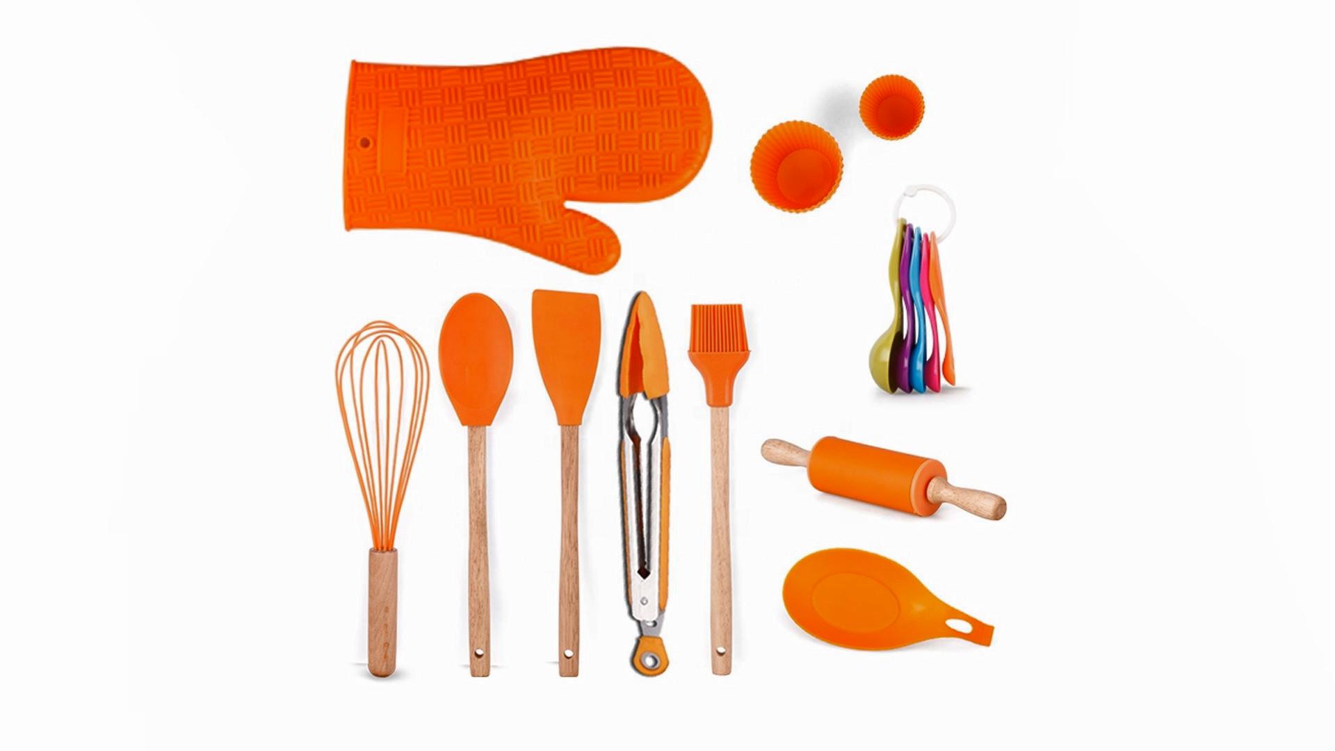 Silicone Cooking Utensils 14 pcs Kitchen Utensil Set Wooden Baking Utensil Kitchen Tool Set