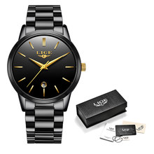 Женские наручные часы LIGE, Роскошные Кварцевые часы из нержавеющей стали с календарем, водонепроницаемые часы для женщин(China)