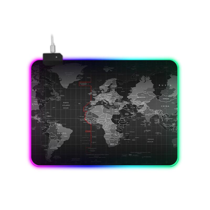Tamanho grande Cores RGB 14 Mapa Do Mundo Do Jogo Mousepads Alta Guality Led Gaming Mouse Pad de Borracha Natural