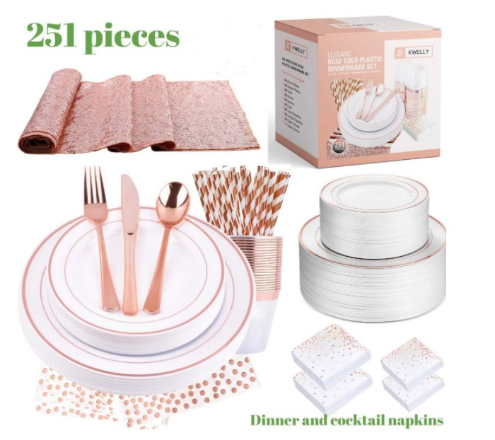Rose Gold Cups Plastic Plates Fork Knives Spoons Disposable Clear Dinnerware Set Party Supplies With Customized Box