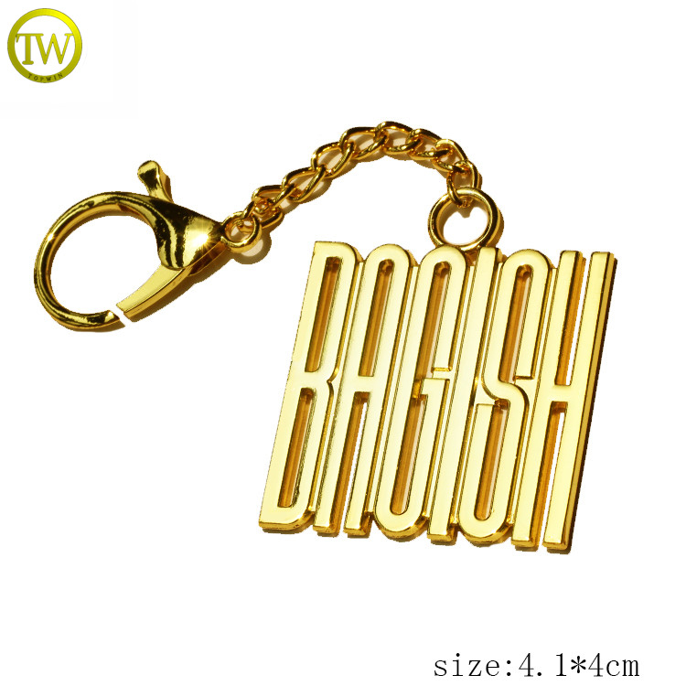 China customized logo gold plated initial letters keychain accessories