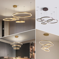 Simple hanging decorative circle rings acrylic gold luxury modern led chandelier