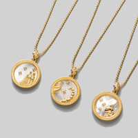 2020 New Creative Lady Jewelry Wholesale 925 Sterling Silver 12 Zodiac Sign Constellation Gold Coin Pendant Necklace for Women