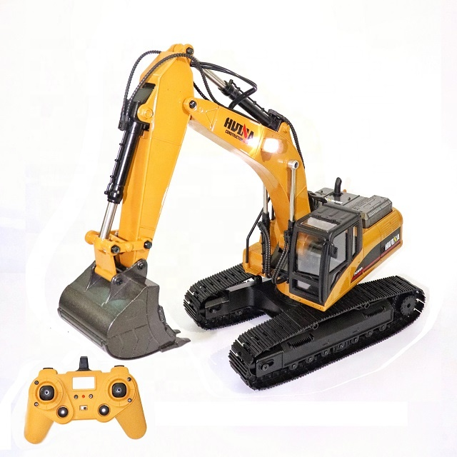 Hot selling Huina 580 1580 23CH full alloy metal remote control toy bucket excavator big pickup car truck 1 14 rc excavator