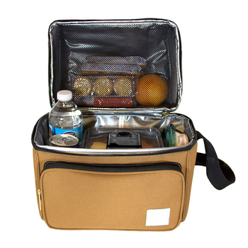 Deluxe Dual Compartment Insulated Lunch Cooler Bag, Double color Lunch Bag with Removable Shoulder Strap