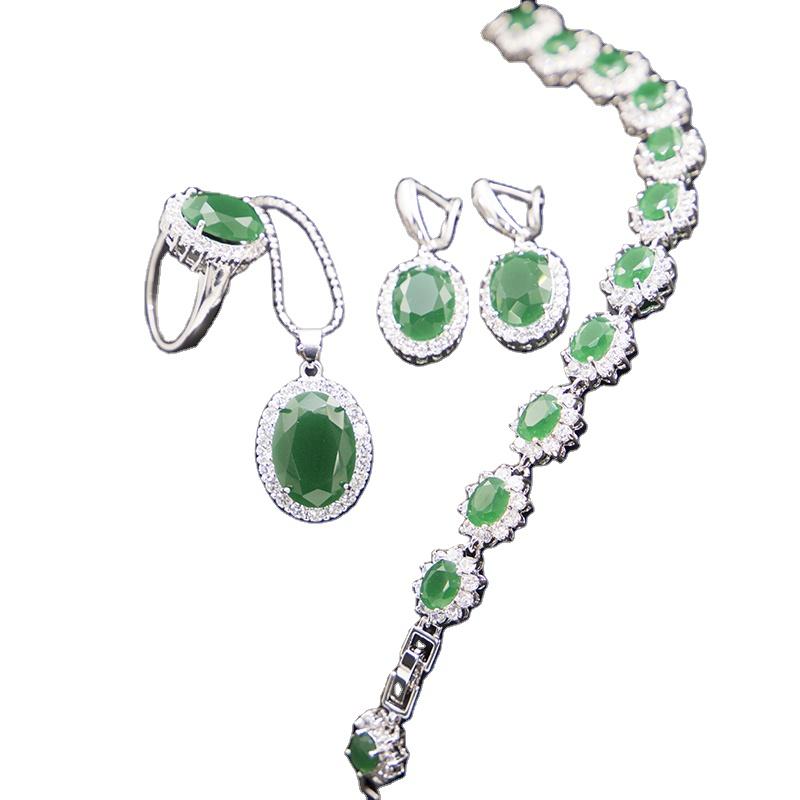water drop Luxurious gemstone cubic zircon   earring ring necklace bracelet women bridal jewelry set for wedding party gift