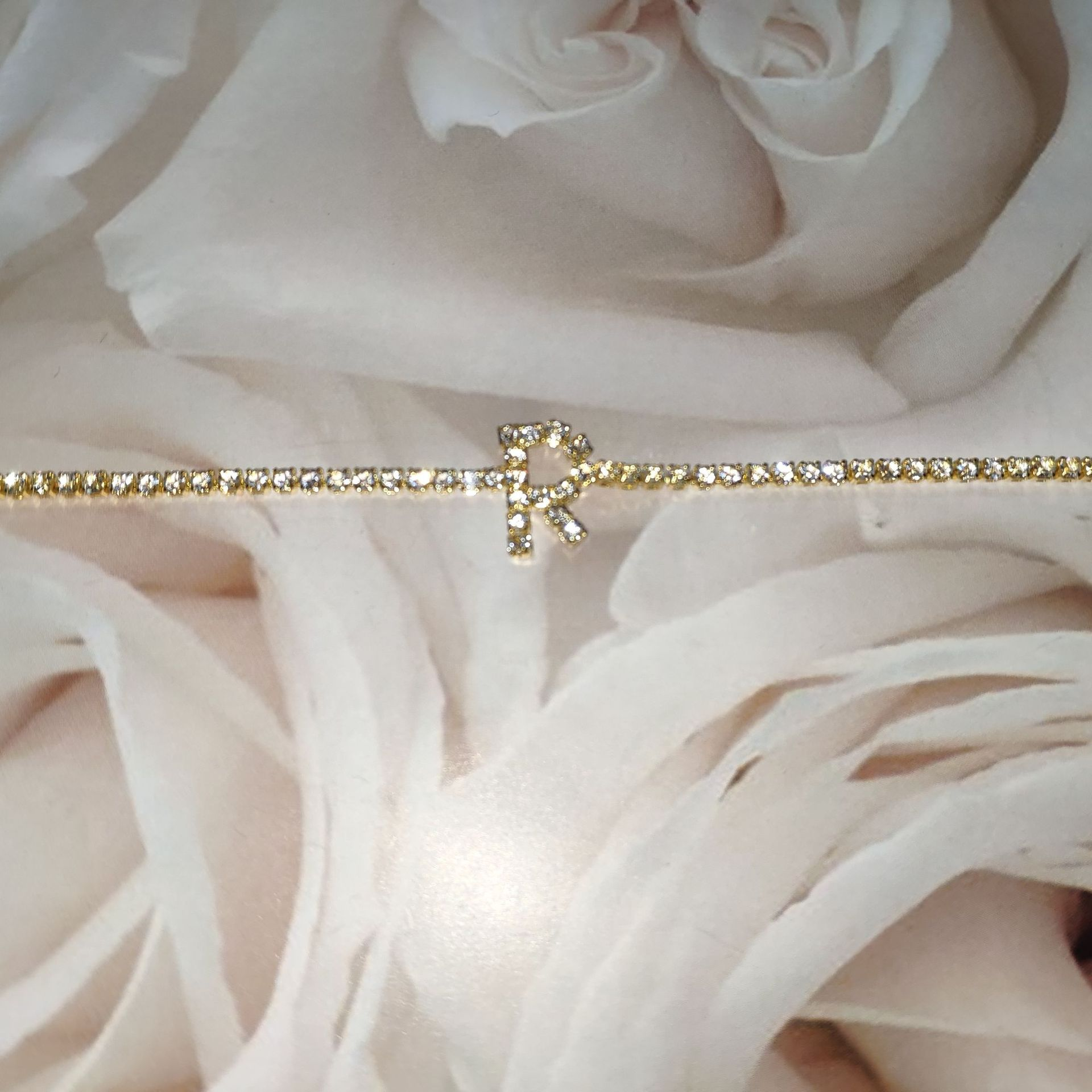 Barlaycs Fashion 26 Letter Silver Gold Bling Crystal Rhinestone Diamond Tennis Letter Initial Anklet Foot Chain for women