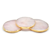 OEM personalized custom round natural crystal rose pink quartz tea coffee cup pad coasters with gift box