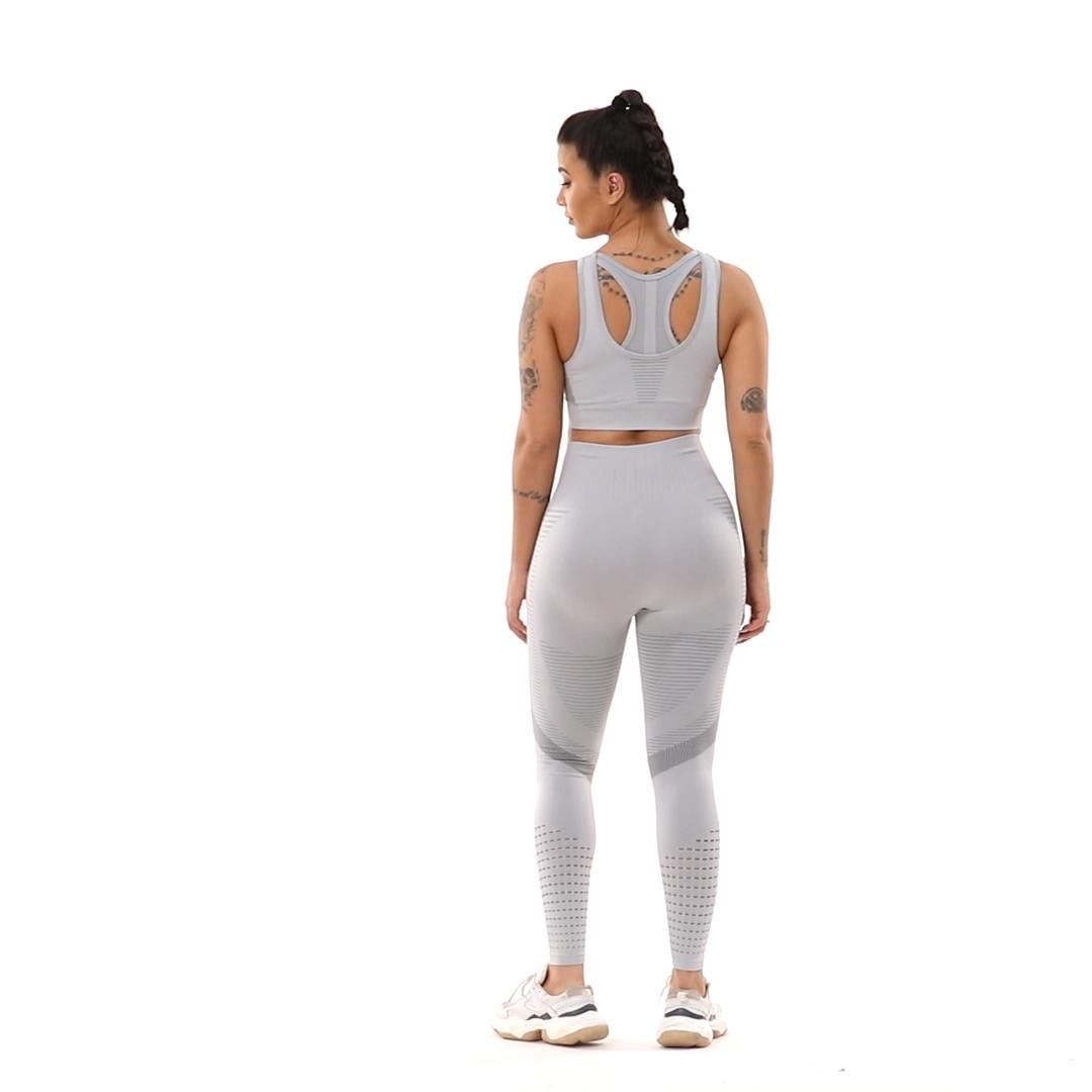 Novos estilos de meias sem costura mulheres sutiã esportivo terno cintura alta roupas de ginástica ginásio 2 peças de fitness yoga set