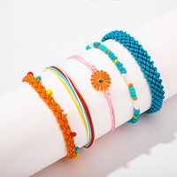 VRIUA 5PCS/Set Colorful Rainbow Color Daisy Bead Mix Braid Bracelets Women Girls Jewelry Gift DIY Charm Rope Bangles