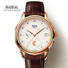 Часы HAZEAL для пары, оригинальный дизайн, мужские кварцевые часы, швейцарские роскошные часы, мужские наручные часы с сапфиром(Китай)