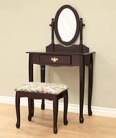 Elegant and noble coffee dressing table has a 360 degree rotating mirror and soft cushion dressing stool