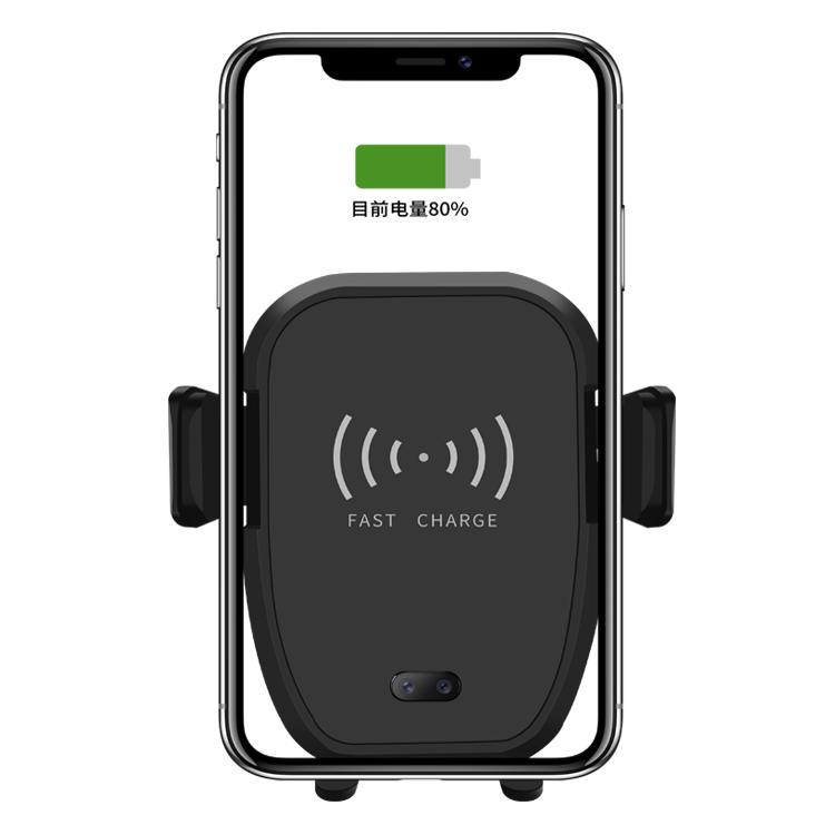 Qi Standard High Quality Wireless Charger Car Mount Phone Bracket Infrared Sensor Car Wireless Charging Holder, Black / white