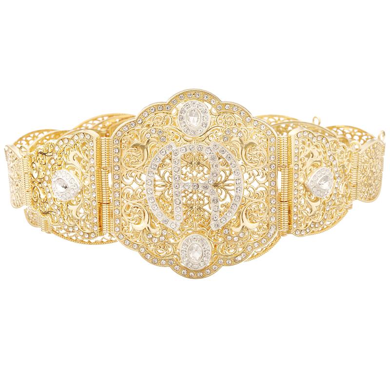 Morocco style popular letter belt hollow R pattern metal belt adjustable length jewelry waist chain