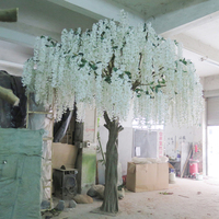 Artificial Wisteria White Flower Tree For Office Garden Tree