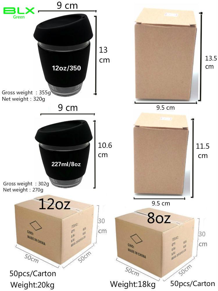 Libre de la muestra de encargo logotipo impreso de café reutilizable taza doble pared con tapa de silicona y cubierta
