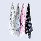 Satin latest swan animal print long scarf designs lady stoles