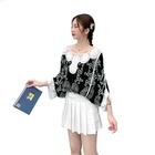 2020 summer new Korean fashion Pullover embroidered lace shirt knitted embroidered pattern sunscreen trend