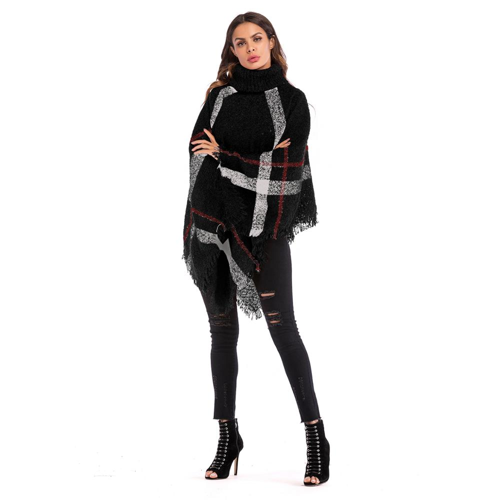 YH5862 Irregular plaid fringe cape cape high-necked bat sleeve pullover knit sweater for women