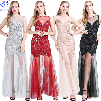 High Quality Plus Size 1920s Sequin Dress Flapper Gatsby Evening Long Prom Dresses