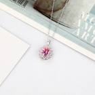 2020 Fashion Women Necklace Pendant 925 Sterling Silver Pink Crystal Pendant Women Jewelry Gift Pendant Necklaces