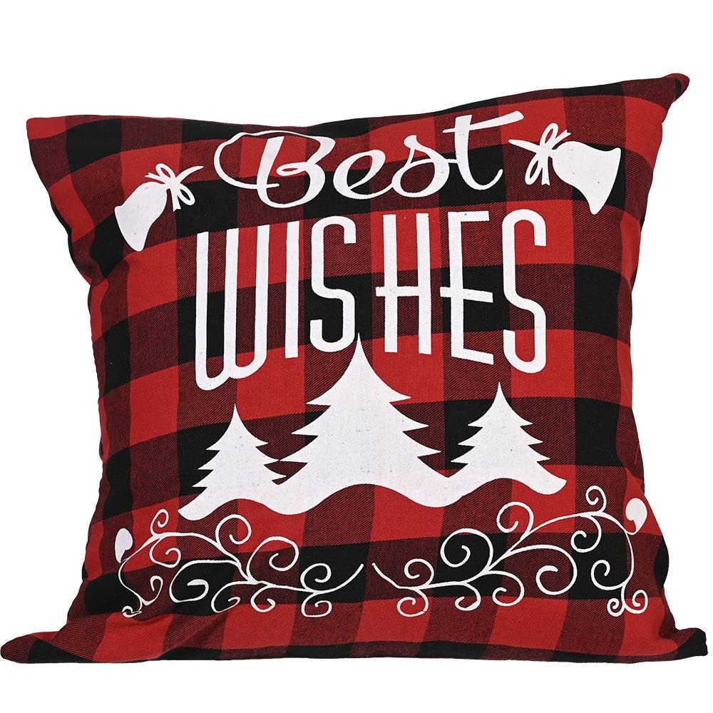 Christmas Farmhouseสีแดงลายสก๊อตสีดำกวางเกล็ดหิมะMerry Christmas Scriptเบาะรองนั่ง