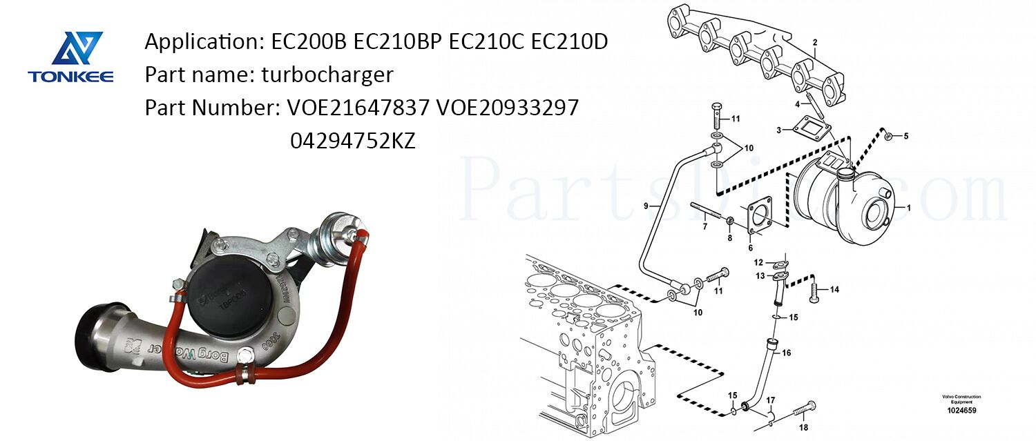 EC200B EC210BP EC210C EC210D D6E D5D diesel engine turbo VOE21647837 VOE20933297 04294752KZ turbocharger
