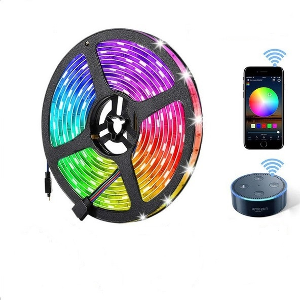 10M Waterproof IP65 RGB Smart Dimmable LED Strip Lights with WiFi Wireless Smart Phone APP Controlled