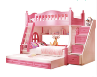 Twin Size Loft Kids Wooden Bunk Bed For Boys full size bed queen size captains bed pink WJX-A071