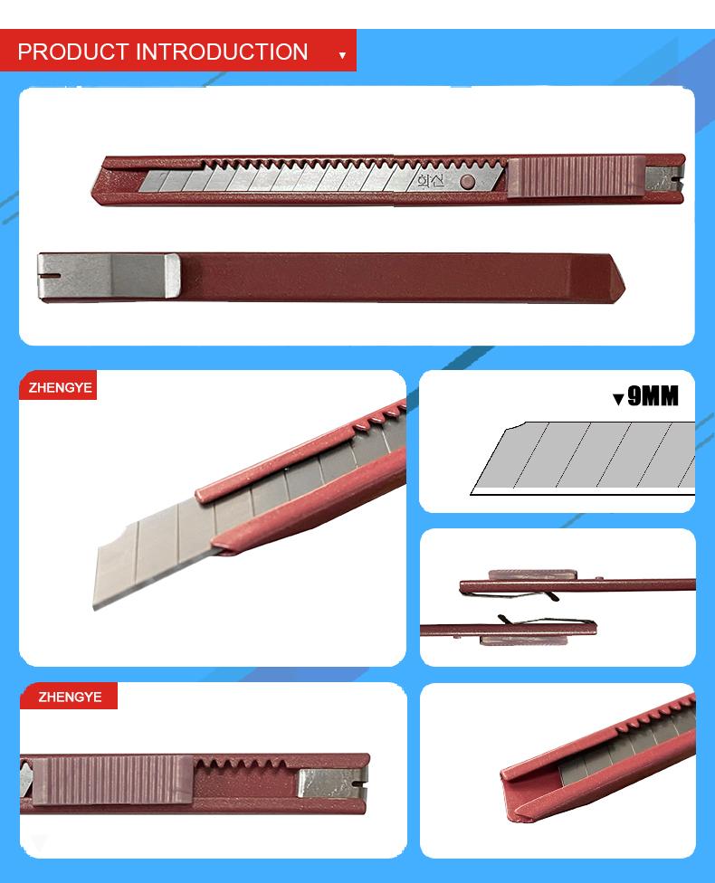 저렴한 핫 나이프 커터 9mm 스테인리스 금속 바디 스냅 상자 커터 나이프 자동