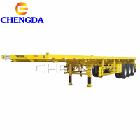 Cheap Price 40 Ton 2 Axle 20ft Container Chassis 3 Axle 40ft Flat Bed Gooseneck Skeleton Truck Flatbed Trailer