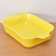 Bakeware rectangle shape two ears non stick yellow glazed ceramic baking dish with two ear