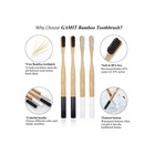 Natural |family Bamboo Toothbrush Oral Care Teeth Brushes Natural |Bamboo Toothbrush With Comfortable Handle |Family Pack Of 4 Natural Bamboo To